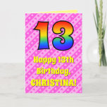 [ Thumbnail: 13th Birthday: Pink Stripes & Hearts, Rainbow # 13 Card ]