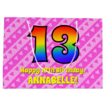 [ Thumbnail: 13th Birthday: Pink Stripes & Hearts, Rainbow # 13 Gift Bag ]