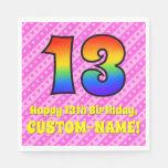 [ Thumbnail: 13th Birthday: Pink Stripes & Hearts, Rainbow # 13 Napkins ]