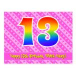 [ Thumbnail: 13th Birthday: Pink Stripes & Hearts, Rainbow 13 Postcard ]