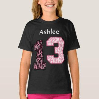 13th Birthday Pink Zebra Custom Name V024 T-Shirt