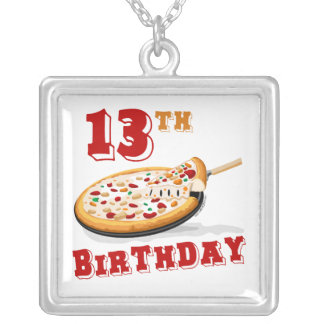 13th Birthday Pizza Party Square Pendant Necklace