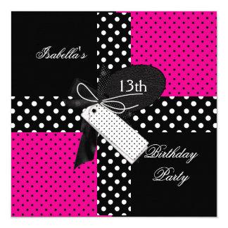 13th Birthday Polka Dot Hot Pink Black White Invitation