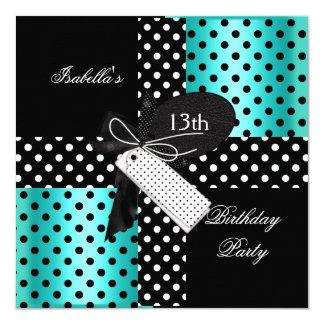 13th Birthday Polka Dot Teal Blue Black White 2 5.25x5.25 Square Paper Invitation Card