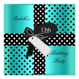 13th Birthday Polka Dot Teal Blue Black White 5.25x5.25 Square Paper Invitation Card