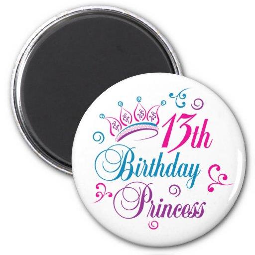 13th Birthday Princess 2 Inch Round Magnet