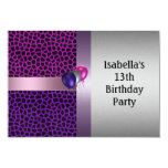 13th Birthday Purple Pink Black Pattern & Balloons Personalized Announcements