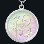 """13th Birthday Rainbows and Butterflies Necklace<br><div class=""""desc"""">A pretty rainbow of colors,  pink flowers and lavender butterflies fills this 13th girls Happy Birthday necklace with joy.  A unique fashion accessory for a special teen.  Original design by Anura Design Studio.</div>"""