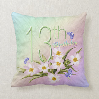 13th Birthday Rainbows and Wildflowers Throw Pillows