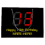 "[ Thumbnail: 13th Birthday: Red Digital Clock Style ""13"" + Name Gift Bag ]"