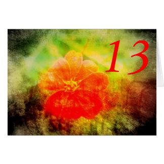 13th Birthday Red Flower Card