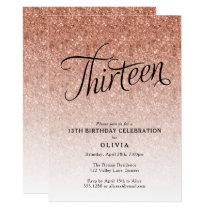 13th Birthday Rose Gold Ombre Glitter Invitation