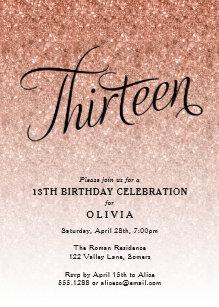 13th birthday invitations zazzle 13th birthday rose gold ombre glitter invitation filmwisefo