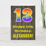 "[ Thumbnail: 13th Birthday: Rustic Faux Wood Look, Rainbow ""13"" Card ]"