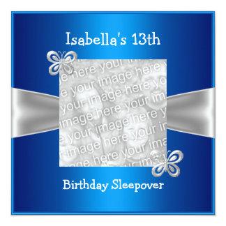 13th Birthday Sleepover Butterfly Photo Blue Card
