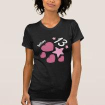 13th Birthday Stars and Hearts Teen V12 PINK T-Shirt