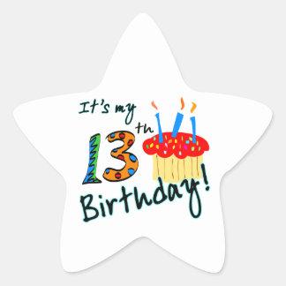 13th Birthday Star Stickers