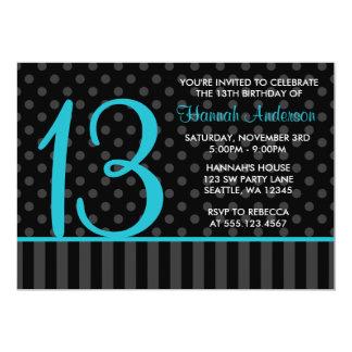 13th Birthday Teal Blue Black Polka Dot Stripes 5x7 Paper Invitation Card