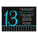 13th Birthday Teal Blue Black Polka Dot Stripes Personalized Invitation