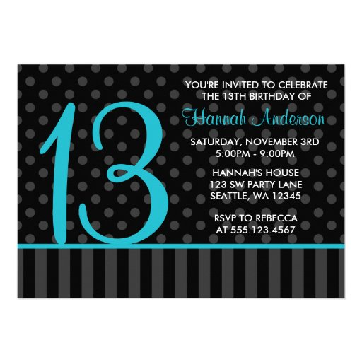 13th Birthday Teal Blue Black Polka Dot Stripes Personalized Invitation
