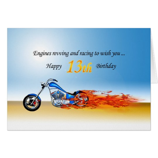 13th Birthday with a Flaming Motorcycle Card