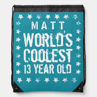 13th Birthday World's Coolest 13 Year Old Teal Z13 Drawstring Backpack