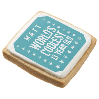 13th Birthday World's Coolest 13 Year Old Teal Z13 Square Premium Shortbread Cookie