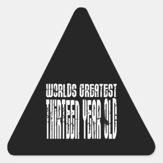 13th Birthday Worlds Greatest Thirteen Year Old Triangle Sticker