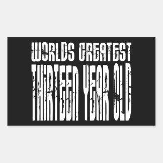 13th Birthday Worlds Greatest Thirteen Year Old Rectangular Sticker