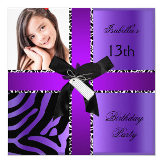 13th Birthday Zebra Cow Purple Black White Card