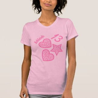 13th Birthday Zebra Star and Hearts Teen V07 PINK T Shirts