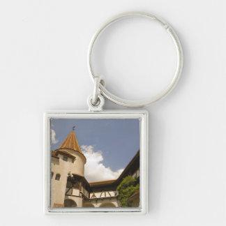13th Century Bran Castle (Draculas' Castle), Silver-Colored Square Keychain