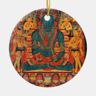 13th Century Transcendent Buddha w/ Bodhisattvas Ceramic Ornament