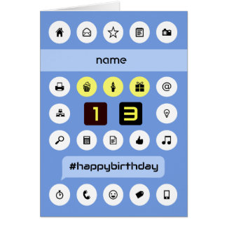 13th computing birthday add name personalized card