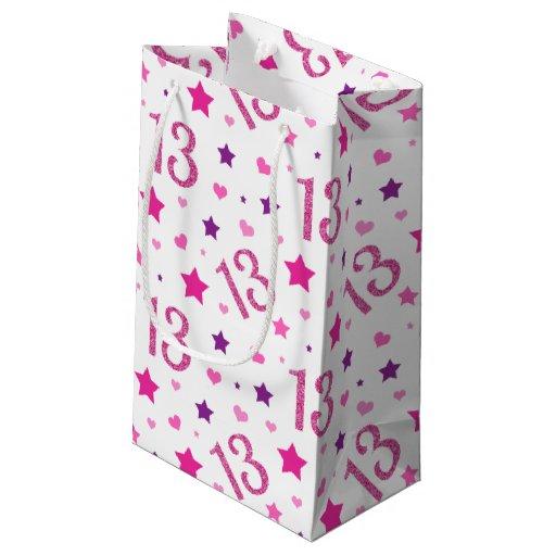 13th Girl Birthday Gift Bag Pink Purple Glitter