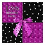 """13th Girly Birthday Invitation - Fuchsia/Black 5.25"""" Square Invitation Card"""