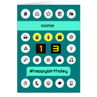 13th hashtag computing birthday add name card