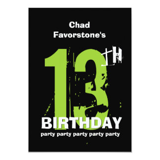 13th Modern Weathered Grunge Birthday Party Card