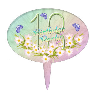 13th Rainbow And Butterflies Birthday Party Cake Topper