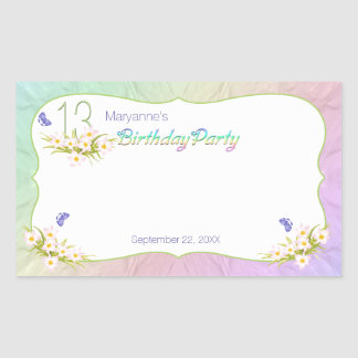 13th Rainbow and Butterflies Birthday Party Rectangular Sticker