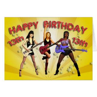 13th Rockin' birthday with a girl band Card