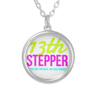 13th Step Sobriety Fellowship Recovery Silver Plated Necklace