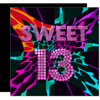 13th Sweet 13 Birthday Party Mixed Animal Print Card