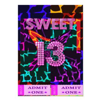 13th Sweet 13 Birthday Party Mixed Animal Print Invites
