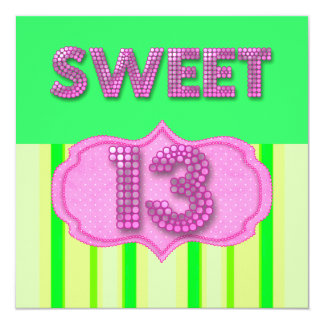 13th Sweet 13 Birthday Party Pink Lime Modern Card