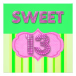 13th Sweet 13 Birthday Party Pink Lime Modern Personalized Invitations