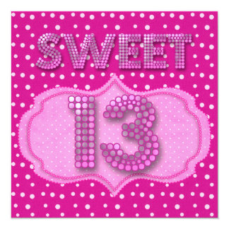 13th Sweet 13 Birthday Party Pink Polka Dots Personalized Announcements