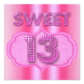 13th Sweet 13 Birthday Party Pink Polka Dots Announcements