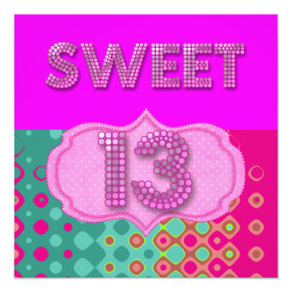 13th Sweet 13 Birthday Party Pink Teal Modern Invite