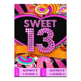 13th Sweet 13 Birthday Party Ticket Admission Custom Invitation